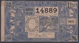 LOT-242 CUBA REPUBLIC OLD LOTTERY SORTEO DE LOTERIA Nº 125 31/03/1913 - Lottery Tickets
