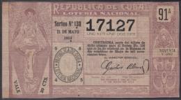 LOT-246 CUBA REPUBLIC OLD LOTTERY SORTEO DE LOTERIA Nº 130 21/05/1913 - Lottery Tickets
