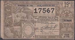 LOT-254  CUBA REPUBLIC OLD LOTTERY SORTEO DE LOTERIA Nº 140 30/08/1913 - Lottery Tickets