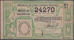 LOT-260  CUBA REPUBLIC OLD LOTTERY SORTEO DE LOTERIA Nº 155 30/01/1914 - Lottery Tickets
