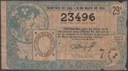 LOT-264  CUBA REPUBLIC OLD LOTTERY SORTEO DE LOTERIA Nº 165 09/05/1914 - Lottery Tickets