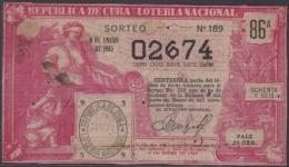 LOT-276  CUBA REPUBLIC OLD LOTTERY SORTEO DE LOTERIA Nº 189 09/01/1915 - Lottery Tickets