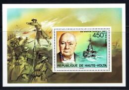 1975  Churchill Et H.M.S. Revolution  - Bloc Feuillet ** - Haute-Volta (1958-1984)