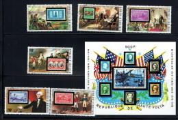 1975 Bicentenaire Des USA  Timbres Sur Timbres - Série Complète Et Bloc Feuillet  Oblitérés - Haute-Volta (1958-1984)