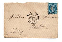 LETTRE . CÉRÈS 25c BLEU . DE BORDEAUX (33) À HABAS (40) . JUILLET 1872 - Réf. N°750T - - 1849-1876: Période Classique