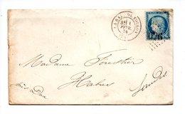 LETTRE . CÉRÈS 25c BLEU . DE LA RADE DE TOULON (83) À HABAS (40) . 3 FÉVRIER 1874 - Réf. N°752T - - Postmark Collection (Covers)