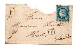 LETTRE . CÉRÈS 25c BLEU . HABAS (40) - Réf. N°755T - - Postmark Collection (Covers)