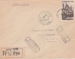 917 YT SEUL SUR LETTRE REC PONTOISE  19/9/52 POUR PARIS + RETOUR +CACHET FACTEUR-                             TDA265 - Postmark Collection (Covers)