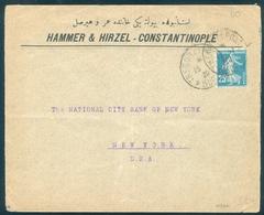 Turkey Constantinople Cover Hammer & Hirzel 1920 To New York Bank France Tresor Et Postes 506 - 1858-1921 Ottoman Empire