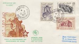 Enveloppe  FDC   1er  Jour   MAROC   Sauvegarde  Des  Monuments  De   Nubie   1963 - Egyptologie