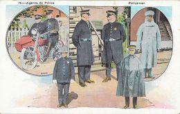 Agents De Police - Policemen - Uniformes U.S.A. Moto Side-car - Carte Colorisée, Non Circulée N° 76 - Police - Gendarmerie