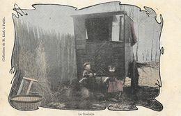 La Roulotte, Enfants Bohémiens - Collection M. Liné - Carte Colorisée, Dos Simple, Non Circulée - Europe
