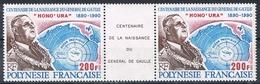 POLYNESIE N°364A N**   En Paire Avec Vignette Centrale GENERAL DE GAULLE - Polynésie Française