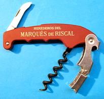 TIRE BOUCHON DECAPSULEUR COUTEAU HEREDEROS DEL MARQUES DE RISCAL / INOX KOALA VIGC SPAIN - Bottle Openers