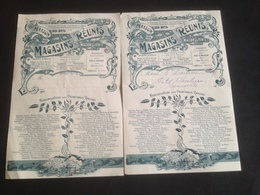 """2 Factures 1921 Et 1922 """"Maison Des Magasins Réunis"""" Tampon Au Revers - France"""