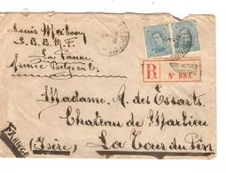 Guerre-Oorlog 14-18 TP 141(2) S/L.recommandée C.PMB-BLP 3/10/18 écrite De La Panne V.La Tour Du Pin C.d'arrivée JS243 - Esercito Belga