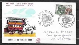 FDC Lettre Illustrée Premier Jour Circulée Aix Les Bains 15/03/1969 N°1589 Journée Du Timbre TB  Soldé à Moins De 20 % ! - 1960-1969