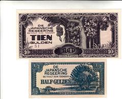 De Japansche Regeering Half Gulden + Tien Gulden Invasione Giapponese Paesi Bassi. - Paises Bajos