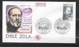 FDC Lettre Illustrée Premier Jour Paris Littérature Et Philatélie 4-5/2/1967 N°1511 Emile ZOLA TB  Soldé! ! ! - Matasellos Conmemorativos