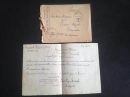 """Enveloppe + Lettre 29/07/1943 Avec Tampon """"office De Placement Allemand"""" - Oorlog 1939-45"""