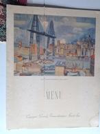 Menu - Cie Générale Transatlantique - Paquebot Normandie - Mai 1937 - Vieux Port De Marseille, Pont Transbordeur - Menus