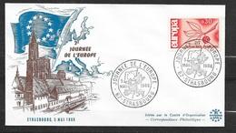 Lettre Illustrée Srasbourg 2ème Journée De L'Europe Cachet Illustré Le 05/05/1966 Avec Le N°1465 TB  Soldé! ! ! - Europa-CEPT