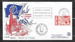 Lettre Illustrée Srasbourg 2ème Journée De L'Europe Cachet Et Flamme Expo Le 05/05/1966 Avec Le N°1465 TB  Soldé! ! ! - Europa-CEPT