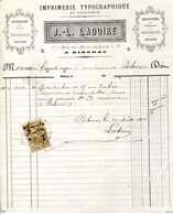 24.DORDOGNE.RIBERAC.IMPRIMERIE TYPOGRAPHIQUE & PAPETERIE.J.L.LADOIRE 13 RUE DE L'HOTEL DE VILLE. - Imprimerie & Papeterie