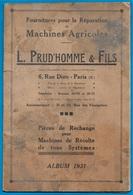 En L'état AGRICULTURE 1931 - Fournitures Pour Réparation Machines Agricoles L. PRUD'HOMME & FILS 75010 Paris - Planches & Plans Techniques