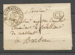 1832 Lettre Local 1d + CL Noir CAD T12 FONTAINEBLEAU SEINE ET MARNE Sup X3324 - Postmark Collection (Covers)