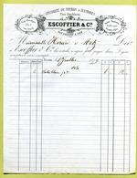 "LYON (69) : "" MERCERIE : ESCOFFIER & Cie ""  1879 - France"