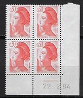 """FR Coins Datés YT 2182 """" Liberté 30c. Orange """" Neuf** Du 22.2.84 - 1980-1989"""