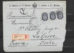 Lettre Recommandée Moscou 29/10/1904 Pour Saint Alban De Roche Le 15/11/1904 N° 44x 3 (paire+1)  B/TB Soldé! ! - 1857-1916 Imperium