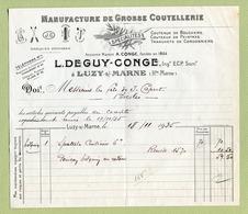 """LUZY-SUR-MARNE  (52) : """" COUTELLERIE : L. DEGUY-CONGE """"  1935 - France"""