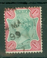 India: 1892/97   QV     SG105    1R    Green & Rose      Used - India (...-1947)