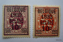 BELGIUM 1932. Surch BELGIQUE 1932 BELGIE 10c. The Belgian Lion. OBP 333-34. SG 600-01. MH - 1929-1937 Heraldieke Leeuw