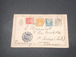 DANEMARK - Entier Postal + Complément De Skive Pour La France En 1910 - L 16911 - Entiers Postaux