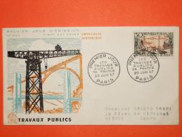 FRANCE 1er JOUR 1957 - N°1114 Travaux Publics Sur Enveloppe.  TB - 1950-1959