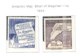 Chile PO 1958 Mappa Antartico E Stretto Magellano    Scott.310+311+ See Scan On Scott.Page New - Cile