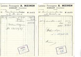 2 Factures Demi Format / 70 Haute Saône / OISELAY / A MEINEN / Laiterie Fromagerie / 1942 - Food