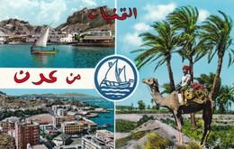 Postcard Aden / Yemen Camel Among Palms Lahej Maalla And The Crescent Steamer Point  My Ref  B12168 - Yemen