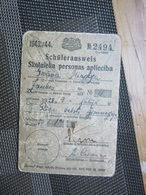 1943 /44 WWII Germany -  Latvia - Riga -  City Train - Tram  Season Ticket For Student - Abbonamenti