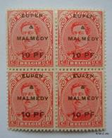GERMANY BELGIUM OCCUPATION 1920. Belgium Stamp Surcharge: EUPEN & MALMEDY. Block Of 4. SG 19. MNH - Zona Belga