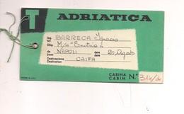 2155) TARGHETTA BAGAGLI CABINA NAVIGAZIONE ADRIATICA - Barche