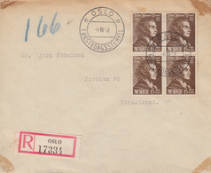 Enveloppe  Recommandée  FDC  1er   Jour   NORVEGE   Johan  Herman   WESSEL    OSLO   1943 - FDC