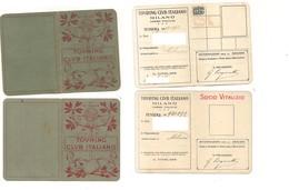 2162) TESSERA TOURING CLUB ITALIANO 2 VITALIZIO ED ORDINARIO 1938 - Altre Collezioni
