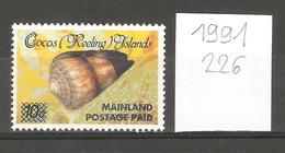 Cocos Keeling (Australie), Année 1991, Coquillage, Surchargé - Cocos (Keeling) Islands