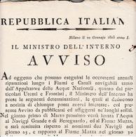 Periodo Napoleonico, Repubblica Italiana, Milano 1805 Avviso Per Riparazioni Lungo Fiumi E Canali. - Decreti & Leggi