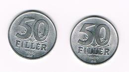 HONGARIJE  2 X 50  FILLER  1985/89 - Hongrie