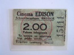 Ticket Brugge Bruges Cinema Edison 1936 - Toegangskaarten